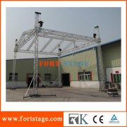Aluminum roof truss with portable stage for celebration